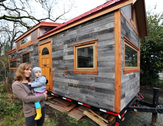 young couple inspiring tiny house