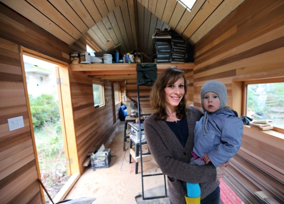 young couple tiny house